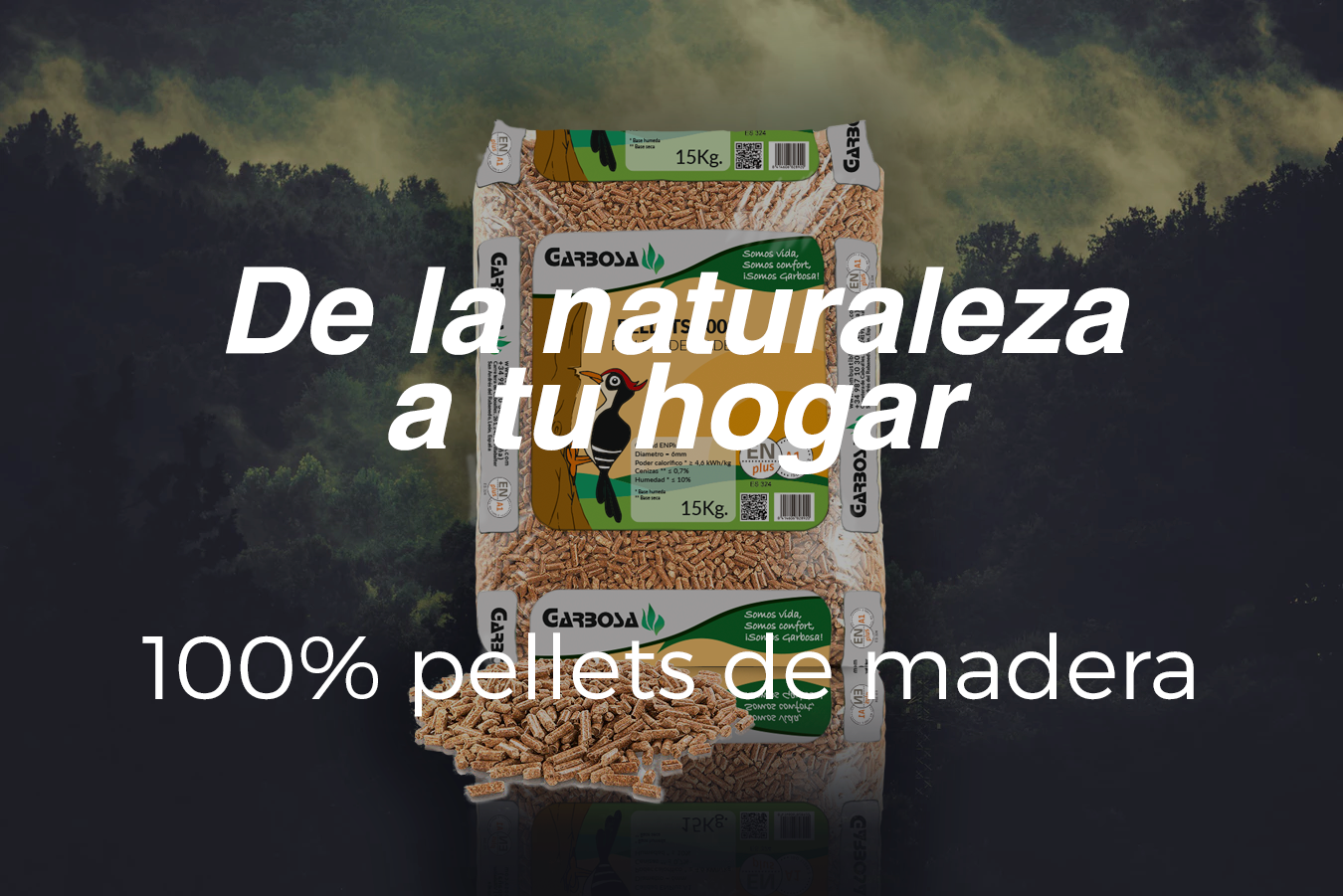 Pelletsde madera 100% natural.