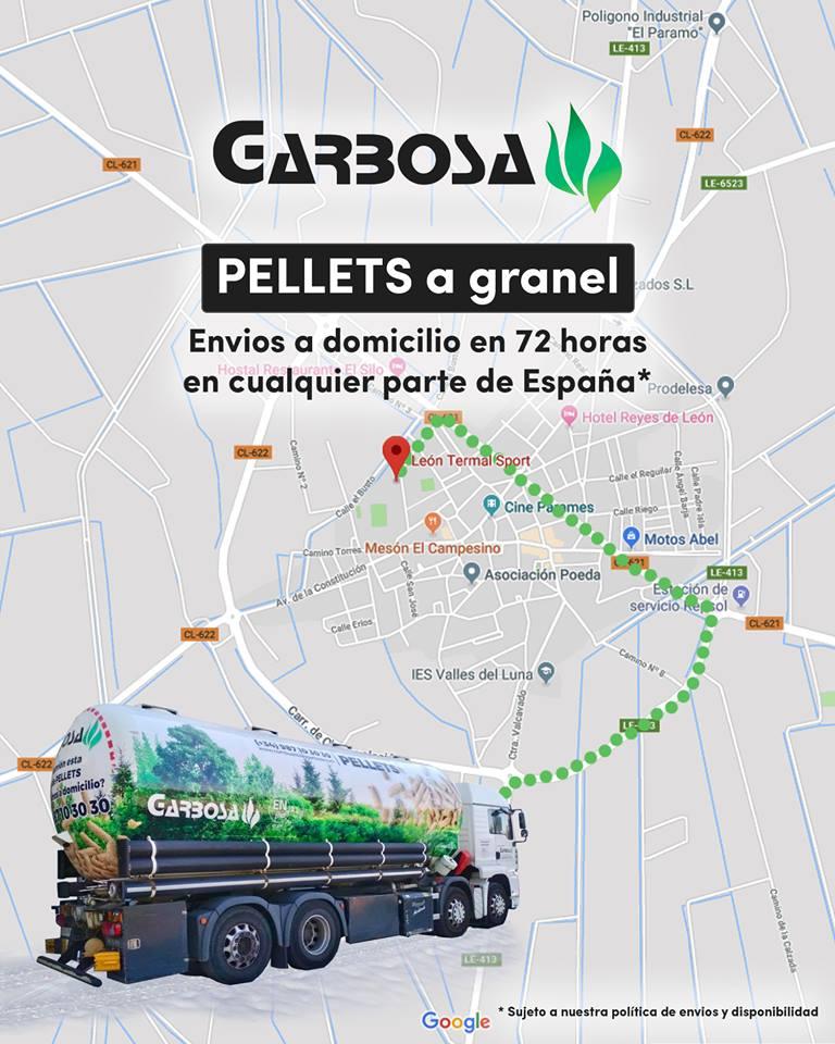Suministro de pellets a granel en León, Palencia, Valladolid, Asturias, Burgos...